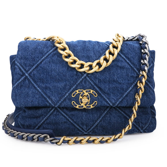 CHANEL CHANEL 19 Medium Flap Bag in Denim - Dearluxe.com