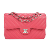 CHANEL Small Chevron Classic Double Flap Bag in Coral Pink Lambskin - Dearluxe.com