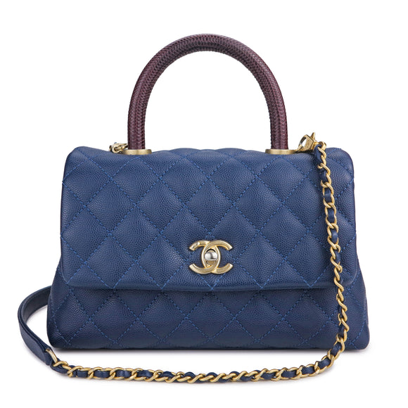 CHANEL Mini Coco Handle Bag with Lizard Handle in Navy Caviar - Dearluxe.com