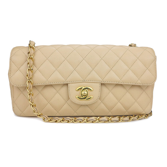 CHANEL East West Flap Bag in Beige Clair Caviar GHW | Dearluxe