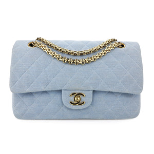 CHANEL Vintage Medium Classic Double Flap Bag in Light Blue Jersey - Dearluxe.com