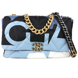 CHANEL CHANEL 19 Maxi Flap Bag in Multicolor Printed Silk - Dearluxe.com