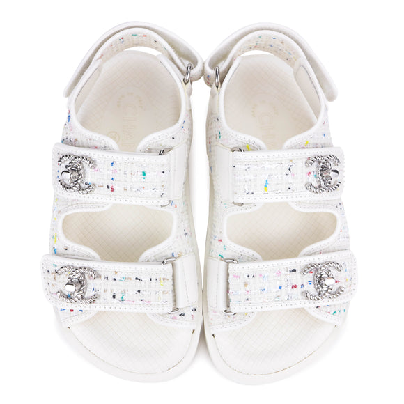 CHANEL 19S White Multicolor Tweed CC 'Dad' Velcro Sandals Sz34 - Dearluxe.com