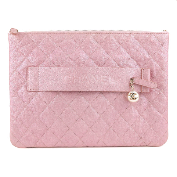 CHANEL Night by the C Pouch Clutch Large Ocase in 19S Iridescent Pink Caviar - Dearluxe.com