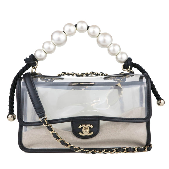 CHANEL Coco Sand Pearl Strap PVC Medium Flap Bag - Dearluxe.com