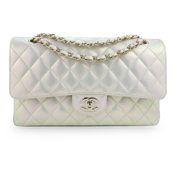 CHANEL Medium Classic Double Flap Bag in 20B Iridescent Ivory Lambskin - Dearluxe.com
