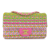 CHANEL 21C Pink Green Chain Tweed Mini Rectangular Flap Bag - Dearluxe.com