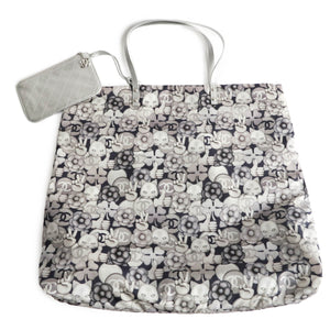 CHANEL Large Peace Cat Emoticon Shopping Tote Bag in Silver Nylon - Dearluxe.com