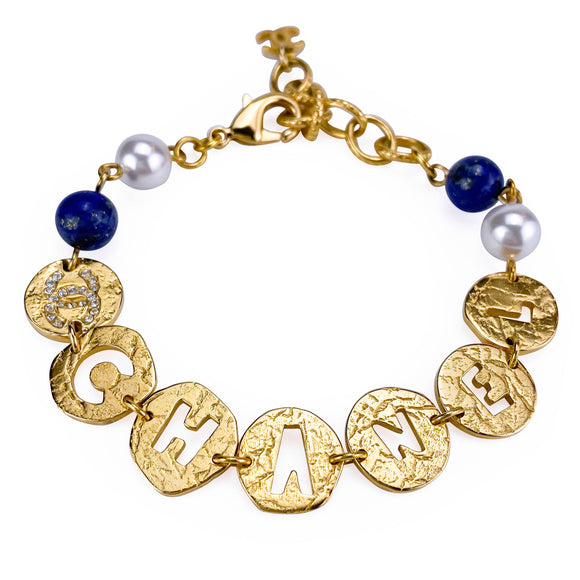 CHANEL 19A Egypt Coco Chanel Cutout Gold Crystal Pearl Bracelet - Dearluxe.com
