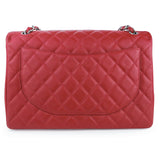 CHANEL Maxi Jumbo Classic Single Flap Bag in Red Caviar - Dearluxe.com