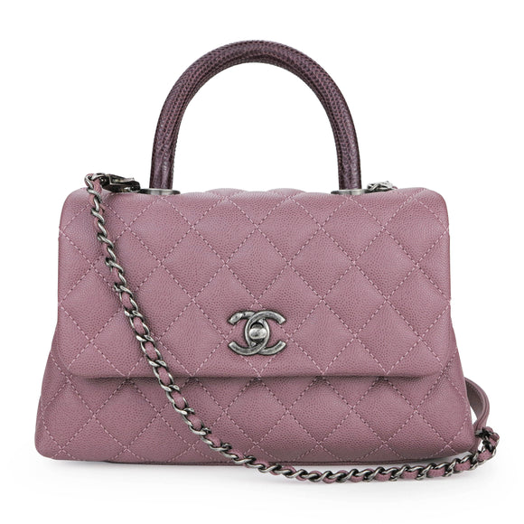 CHANEL Lizard Mini Coco Handle Bag in 16B Mauve Pink Caviar | Dearluxe