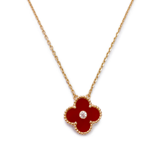 Vintage Alhambra 2011 Holiday Diamond Pendant Necklace in Carnelian 18k Pink Gold
