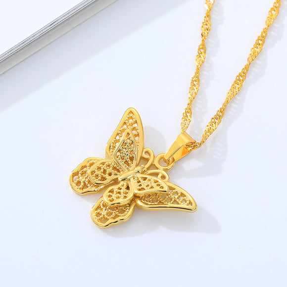 Double Butterfly Pendant Necklace