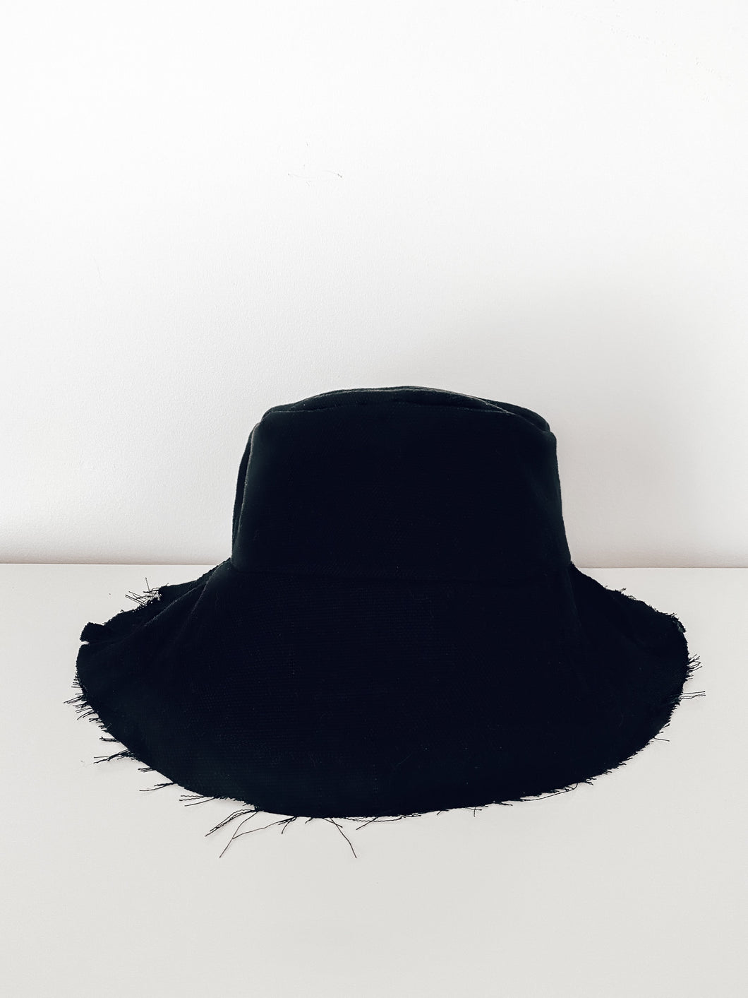MADE TO ORDER Upcycled Raw Hem Black Denim Bucket Hat