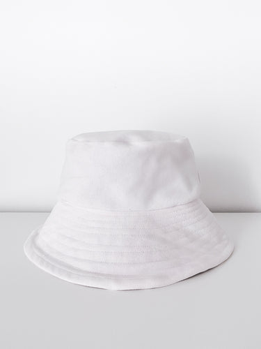 MADE TO ORDER Upcycled Classic Stitch White Denim Bucket Hat