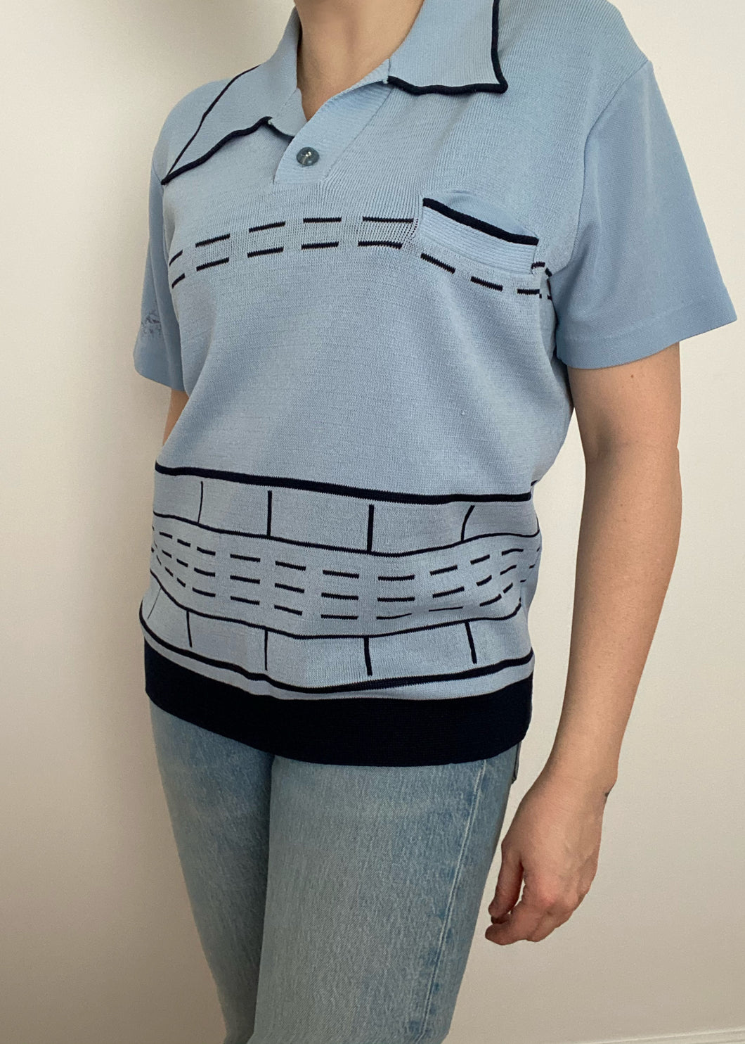 70's Blue Striped Collared Tee