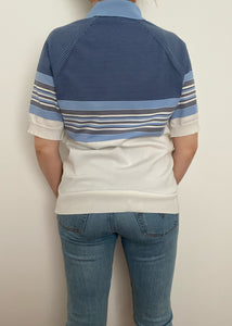 1970's Blue and White Striped Collared Tee
