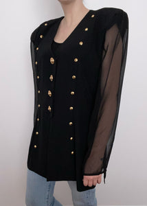 Black Sheer Sleeve Button Up Blouse