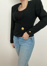 Black Deep-V Button Closure Blouse