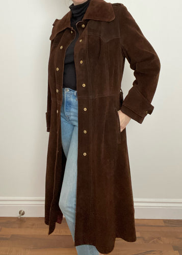 Chocolate Brown 70's Suede Trench