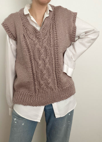Hand Knit Dusty Rose Sweater Vest