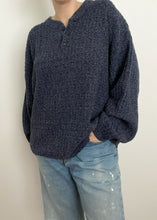 Blue Cotton Knit Henley Pullover
