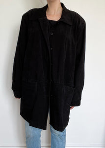 Black 90's Button-Up Shirt Jacket