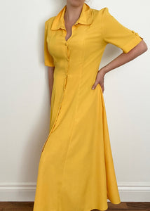 Yellow Button-Up Maxi Dress