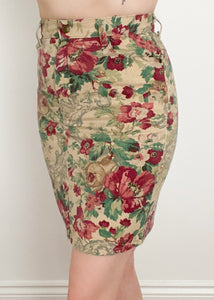 Denim Floral Pencil Skirt