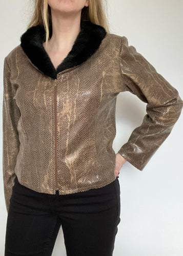 80's Faux Snake Zip-Up with Faux Fur Collar