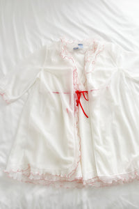 1960's Red and White Ruffled Baby Doll Lingerie Set