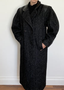 FOR CHARITY: 80's Black Flecked Double Breasted Wool Coat