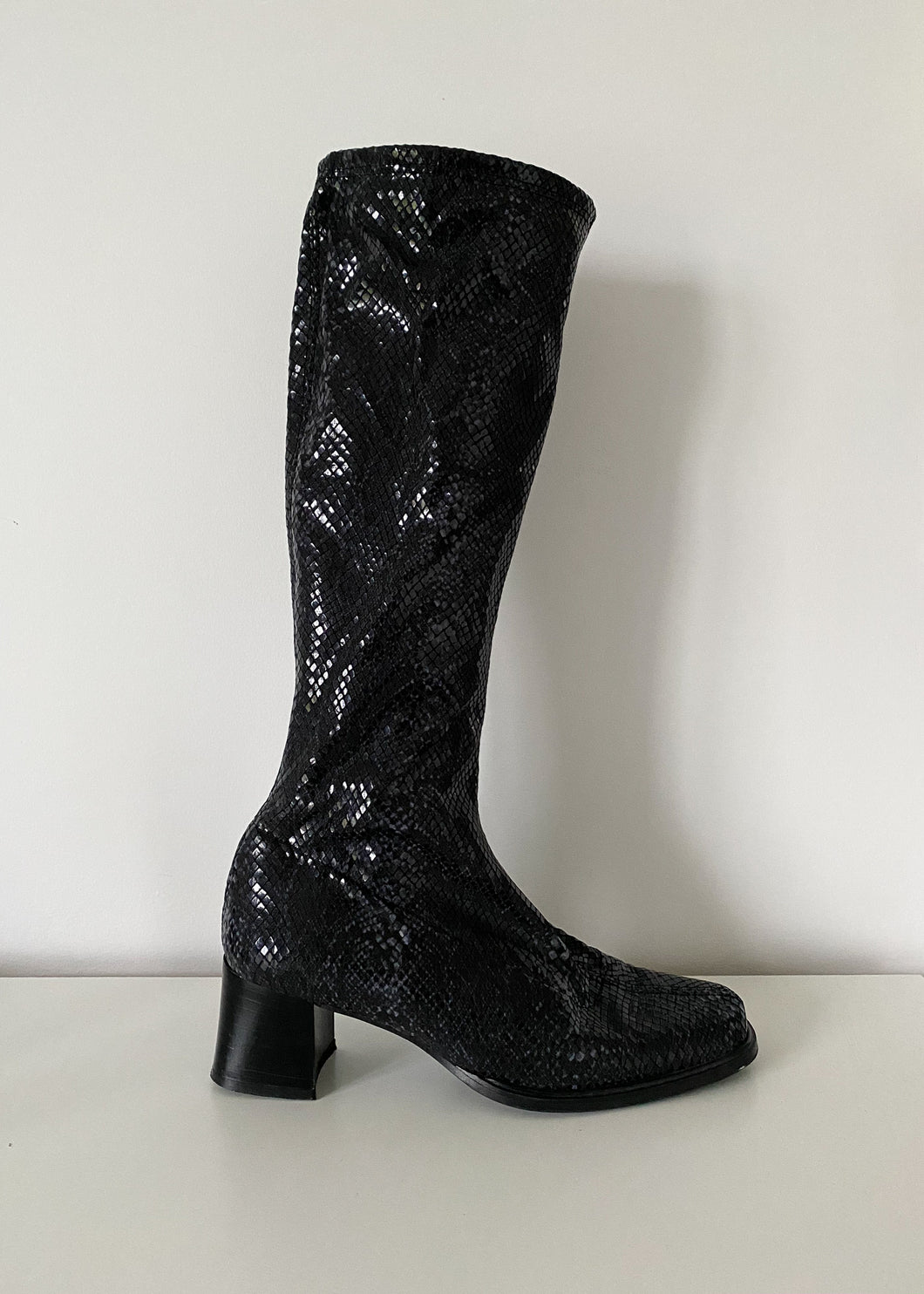Faux Snake Block Heel Stretch Boots