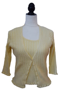 Pastel Yellow Cardigan Set
