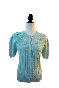 1960's Turquoise Embroidered Button Up Cardigan