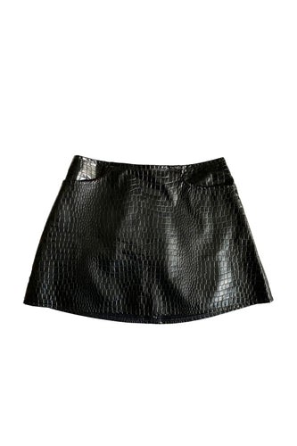 90's Mock Croc Mini Skirt