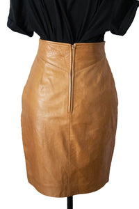 Vintage Brown Leather Pencil Skirt
