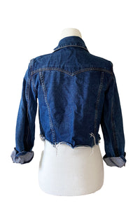 Cropped Raw Edge Denim Jacket