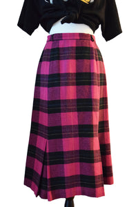 Neon Pink Plaid Midi Skirt