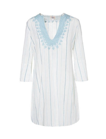 Mini Kaftan - White & Pale Blue