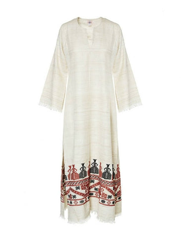 Athena Long Kaftan - Greek Traditional Motif