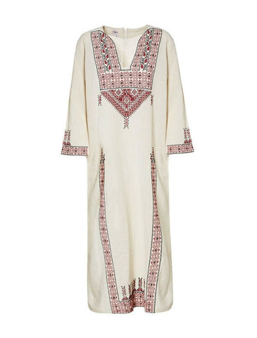 Calliope Long Kaftan - Traditional Embroidery