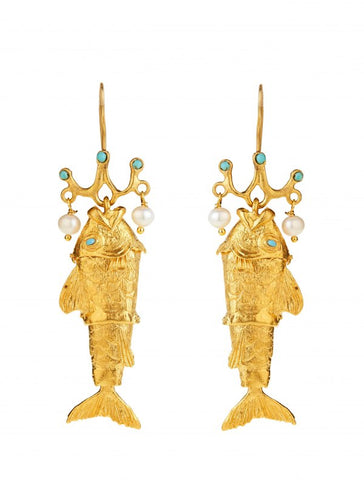 Fish Earrings - Gold Plated