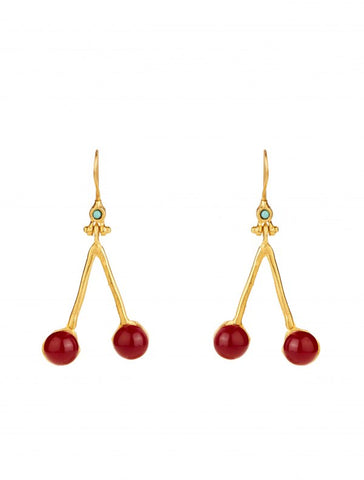 Cherry Earrings - Gold Plated