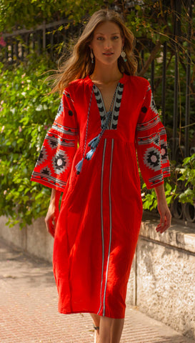 Coral Red Boho Dress