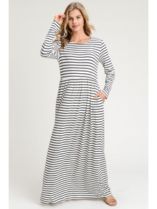 Striped Long Sleeve Maxi Dress