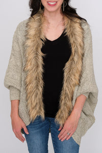 Fur Detail Cardigan With Back Tie
