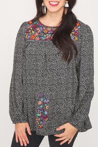 Felicity Floral Print Embroidered Bubble Sleeve Top