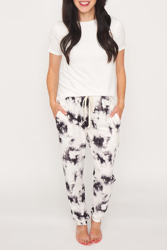 Raven Tie-Dye Joggers with an Elasticized Drawstring