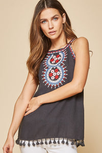 Faded Black Embroidered Halter with Tassels